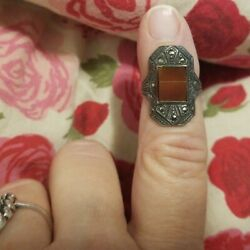 Antique Art Deco 925 Sterling Silver Carnelian And Marcasite Gem Handcrafted Ring