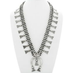 Old Pawn Finish Navajo Squash Blossom Silver Necklace