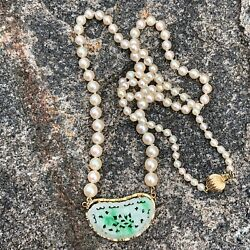 Chinese Jadeite Jade Necklace With Beautiful Graduated Pearls 14k Gold Mounts