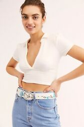Free People Antoinette Painted Leather Belt Blue Flower Size M/l Nwt Made Italy