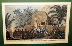 1780s English Hand-colored Engraving Print An Offering Captain Cook Csbh02007