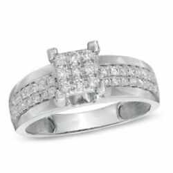 0.50 Cttw Real Diamond Cluster Engagement Ring 10k Gold