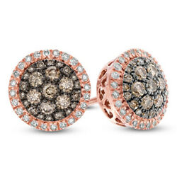 1/2 Ct Champagne And White Diamond Cluster Frame Stud Earrings In 10k Rose Gold