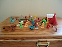 Vintage Mixed Lot Of Cowboys,indians,other Misc. Play Sets Toys Great Lot