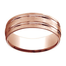 14k Rose Gold 7mm Comfort Fit Satin Finish Parallel Grooves Band Ring Sz 8