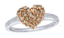 1/2 Ct Round Real Diamond 10k White Gold Heart Engagement Ring Valentine Gifts