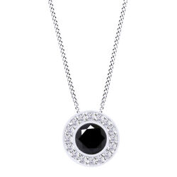 5.75 Ctw Round Black Moissanite Halo Pendant With 18 Chain 925 Sterling Silver