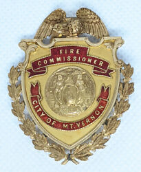 Absolutely Stunning Ca.1920and039s Mt. Vernon Ny Fire Commissioner Badge In 14k Gold