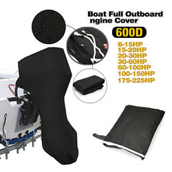Black 600d Polyester Gray Outboard Boat Motor Engine Hood Cover Fits 6-225hp