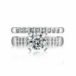 7.5mm Round Cut Simulated Diamond 14k White Gold Engagement And Wedding Rings