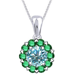 5.25 Ctw Blue Moissanite And Green Emerald Halo Pendant W/18 Chain 10k Solid Gold