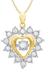 0.50 Ctw Round Natural Diamond Heart Pendant Necklace 10k Yellow Gold