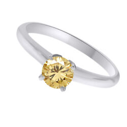 10k White Gold 4 Ct Golden Genuine Moissanite Solitaire Bridal Ring Jewelry