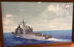 Painting Of Us Ticonderoga 47 Nuclear War Head Ship Signed Dl Jewell W/note