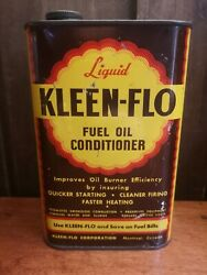 Antique Vintage Kleen-flo Metal Can Tin Metal 32 Fuel Oil Conditioner Product