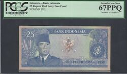 Indonesia Face 25 Rupiah 1-1-1960 Pick Unlisted Essay Proof Uncirculated