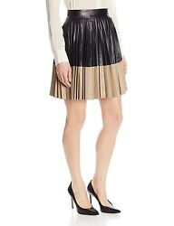 New Robert Rodriguez Two Tone Pleated Leather Skirt Size 8 895