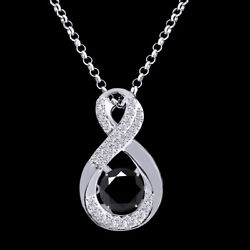5.50 Ctw Black Moissanite Infinity Solitaire Pendant W/18 Chain 10k Solid Gold