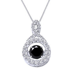 5.75 Ctw Black Moissanite Infinity Dancing Pendant 18 Chain 925 Sterling Silver