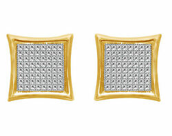 Men's Brand New Yellow Gold Over Sterling Silver Simulated Square Stud Earrings