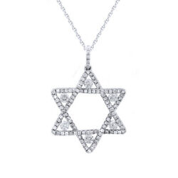 Round Simulated Diamond Star Pendant With 18 Chain 14k White Gold 0.83 Ctw