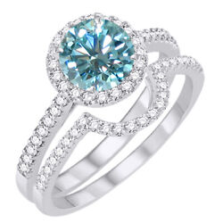 3.25 Ct Light Blue Moissanite Halo Bridal Set Engagement Ring In Sterling Silver