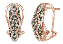 0.62 Ct Champagne And White Natural Diamond Hoop Earrings In 10k Rose Gold