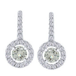 5 Ct Round Genuine Moissanite Sterling Silver Lever Back Halo Drop Earrings