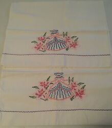 Vintage Pair Pillowcases Embroidered Crochet Southern Belle Ladies Pink Skirt