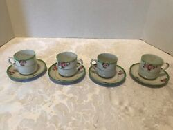 """Vintage Japanese Porcelain Mini Tea Cup And Saucer Sets. 4 Cups And Saucers 2"""""""