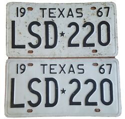 Tx License Plate Pair.front With Bugs Back Clean.good Condition. 1967 Lsd☆220