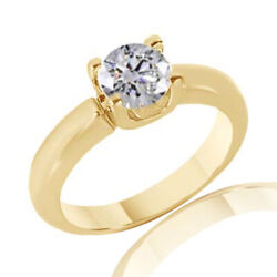 1.54 Ct Simulated Ideal Cut Round Cathedral Ring 18k Yellow Gold
