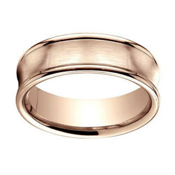 14k Rose Gold 7.5mm Comfort Fit Satin Finish Concave Round Edge Band Ring Sz 8