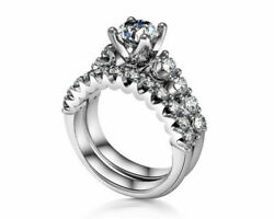 1.75 Ct Round Simulated Diamond 14k Solid White Gold Engagement And Wedding Rings