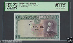 Portugal 100 Escudos Nd1947-57 P159p Proof Specimen About Uncirculated