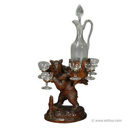 Whimsy Wooden Carved Bear Decanter Stand Swiss Brienz 1900