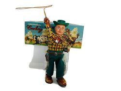 Vintage Tin Litho Wind Up Cowboy Japan Alps Mechanical W/ Whirling Lasso Box
