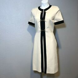 Compact Stretch Jersey Horsebit-front A Line Pleated Dress Cream Auth M