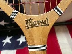 Vintage 1930s Marvel Wood Tennis Racquet Antique Great Condition Nice Display