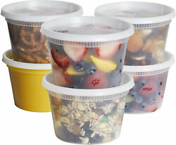 48 Sets Food Storage Deli Lids Plastic Containers Soup Round Clear 16oz Cups W