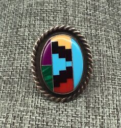 Vtg Signed Navajo Sterling Silver Turquoise Multi Stone Inlay Ring Willie Saiz