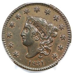 1831 N-8 R-3 Pcgs Au 55 Cac Lg Letters Matron Or Coronet Head Large Cent Coin 1c