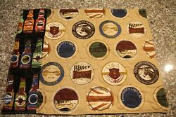 Set Of 4 Quilted Handmade Placemats -high Quality- Beer Bottles/ Caps / Logos