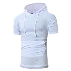 Sport Menand039s Gym Running T-shirts Stretch Fitness Muscle Dress Tee Tops Hooded B