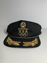 Usa Texaco Offical Sponsor Black Ball Cap Hat Olympic Rings Gold Embroidery