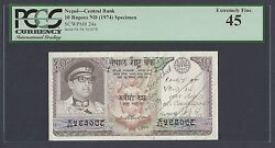 Nepal 10 Rupees Nd1974 P24s Specimen Extremely Fine