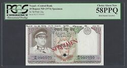 Nepal 10 Rupees Nd 1974 P24s Specimen About Uncirculated