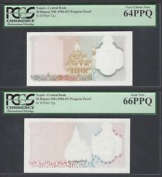 Nepal 2 Progressive Proofs 20 Rupees Nd1982-87 P32p Uncirculated