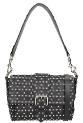 RED Valentino Small Flower Puzzle Black Leather Silver Stud Handle Shoulder Bag