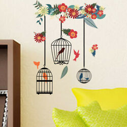 Birdcages Wall Flowers Decor Stickers Room Bird Home Decals Art Removable Murals